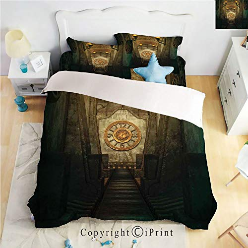 Homenon Classic Sheets 4 Piece Bed Sheet Set,Medieval Passage with Torch and Clock on Wall Mystery in Print Decorative,Beige Emerald,Twin Size,Softest Bed Sheets and Pillow -