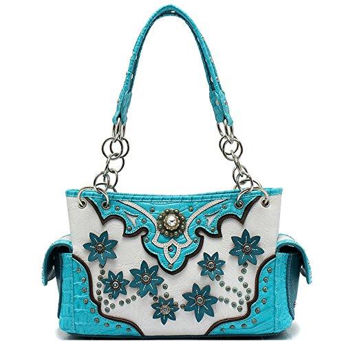 Western Style Flower Conchos Studded Concealed Carry Handbags Floral Purses Women Shoulder Bag Wallet Set (Turquoise)