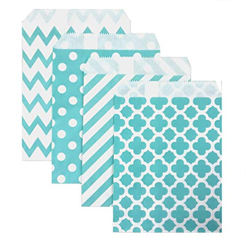KEYYOOMY 100 Pcs Candy Buffet Bags Small Paper Treat Bags (Teal Blue, 5 inch X 7 inch) -