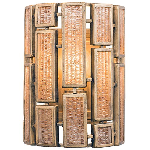 (Varaluz 255W01HG Harlowe 1-Light Wall Sconce - Havana Gold with Brown Textured Ice Glass)