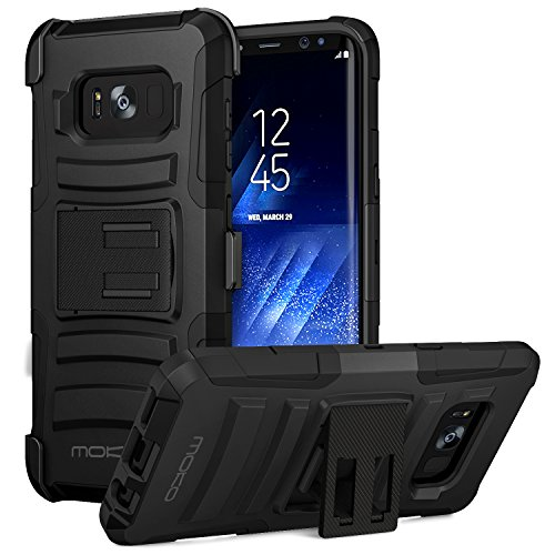 Galaxy S8 Case, MoKo Shock Absorbing Hard Cover Ultra Protective Heavy Duty Case with Holster Belt Clip + Built-in Kickstand for Samsung Galaxy S8 - Black Cell Phone Cover