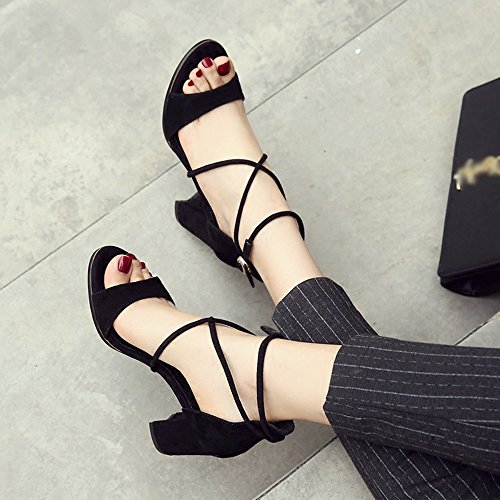 Shoes 5 Open Straps Color One Summer EU37 Rome Buckle Vintage Sandals Heel Heel ZHIRONG CN37 Ankle button Thick UK4 5CM Women's Toe Black Women's Size 5 Shoes Beige High 7 qxzxFU
