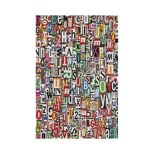 Polyester Garden Flag Outdoor Flag House Flag Banner,Abstract Home Decor,Collage Made of Newspaper Clippings Alphabets Cuttings Diversity Letter Decorative,,for Wedding Anniversary Home Outdoor Garden ()