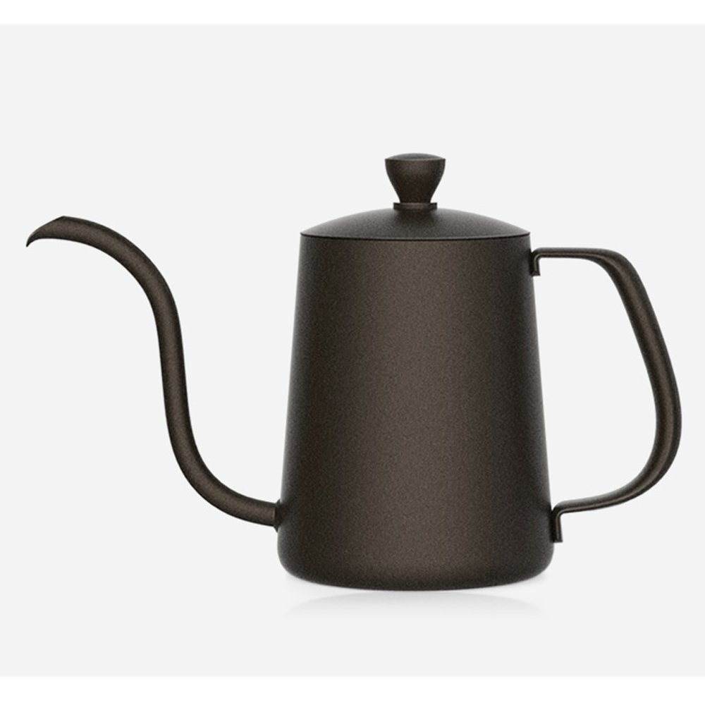 TAMUME 350ML Black Teflon Coating 5mm Gooseneck Spout Drip Pot with Lid for Coffee Service Stainless Steel Drip Tea Kettle for Drip Coffee 350ml