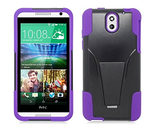 Black & Purple Dual Layer Impact Defender Shockproof Armor Kickstand Cover Case + Atom LED Keychain Light for HTC Desire 610 (AT&T)