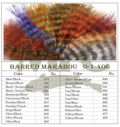Montana Fly Company Barred Marabou Blood Quill - White/Black (1/8 - Quill Blood Marabou
