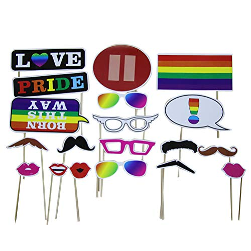 LUOEM Party Photo Booth Props Funny Party Props Birthday Wedding Party Decoration Lips Glasses Camera Props -