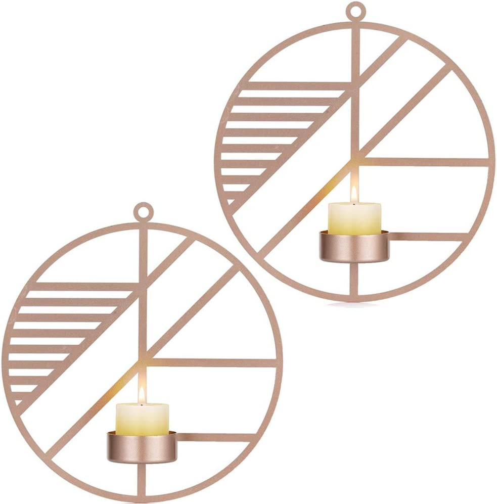 Sziqiqi Wall Mounted Candle Sconces Holder Set of 2 Round Candle Holder for Wall Decorations, Wall Sconces for Livingroom Events Aromatherapy Yard Pathway Patio Porch, Rose Gold