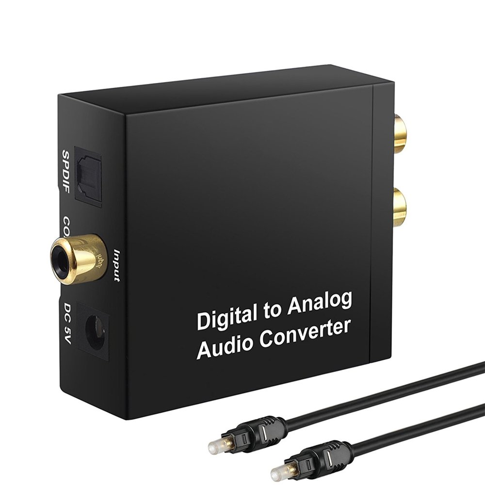 START Digital to Analog DAC Converter SPDIF Toslink to Analog Stereo Audio R/L with Optical Cable for PS4 Xbox 360 HDTV Apple TV Box Blu Ray DVD Home Cinema System Amps
