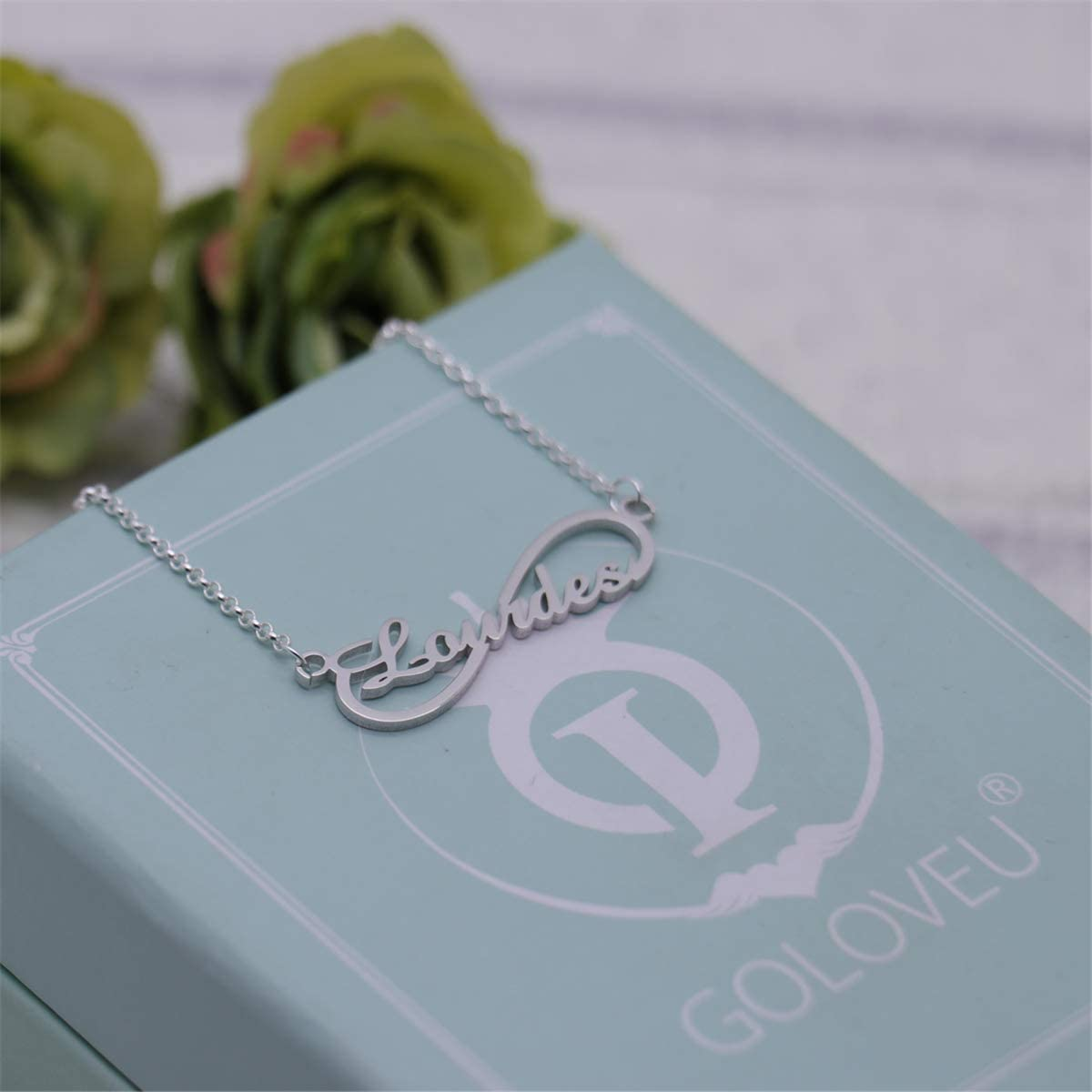 gfcrgaf 925 Sterling Silver Personalized Name Infinity Style Necklace Custom Gift Jewelry