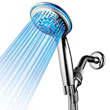coolest rain shower heads DreamSpa All Chrome Water Temperature Controlled Color Changing 5-Setting LED Handheld Shower-Head by Top Brand Manufacturer! Color of LED lights changes automatically according to water temperature
