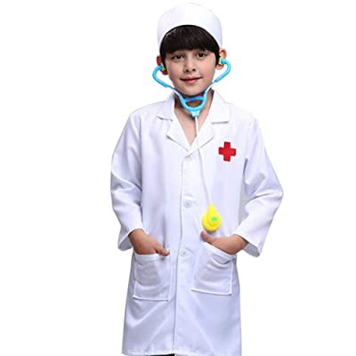 TOPTIE Kids Unisex Lab Coat Uniform, Doctor Role Play Costume: Clothing