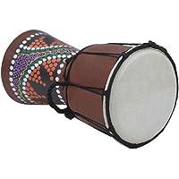 KKmoon 4 Polegada De Tamanho Compacto De Madeira Tambor Africano Djembe Bongo Mão Percussão Percussão Instrumento Musical com Padrão Colorido (Padrões Entrega Aleatória)