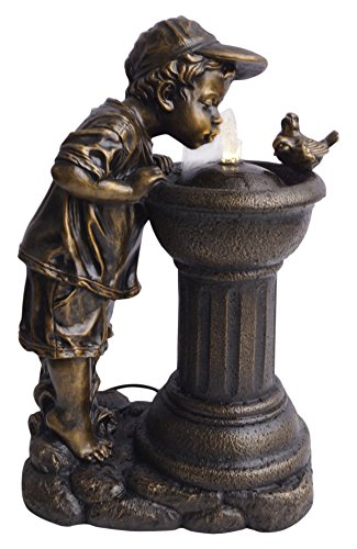 Alpine Corporation Golden Boy Drinking Water Out of Fountain with LED (His Boy Garden Fountain)