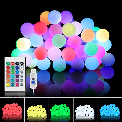 Tesyker String Lights for Bedroom, Ball Lights Bedroom Lights 20 Ft 40 LEDs Led String Lights Fairy Lights with Remote, 16 Colors USB Powered Color Changing Lights for Dorm Room Christmas Patio Party (String For Light Ideas Bedroom)