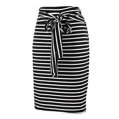 LAEMILIA Femme Elegant Jupe Mini Crayon Stretch Zipp Jupe  Rayures Noir Et Blanc Sexy Jupe Courte Noir