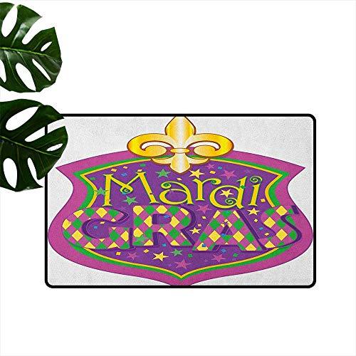 RenteriaDecor Mardi Gras,Funny doormats Blazon Design Festive Mardi Gras Inscription and Fleur de Lis Symbol 36