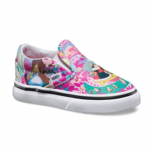 Vans Kids Baby Girl's Disney Classic Slip-On (Toddler) (Disney) Wonderland/Pink Sneaker 4.5 Toddler M