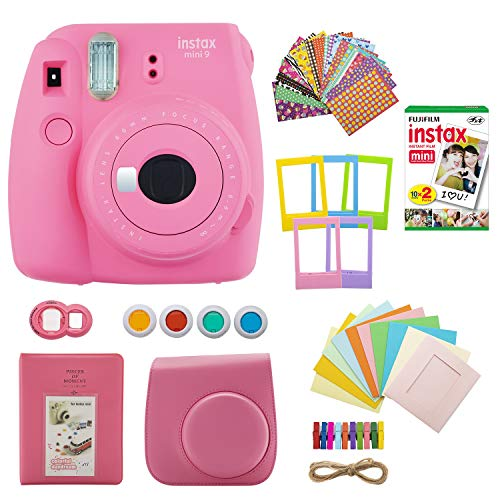 Fujifilm INSTAX Mini 9 Instant Camera (Flamingo Pink) with Twin Instant Film Pack (20 Shots) and 7-1 Accessory Gift Bundle (3 Items)