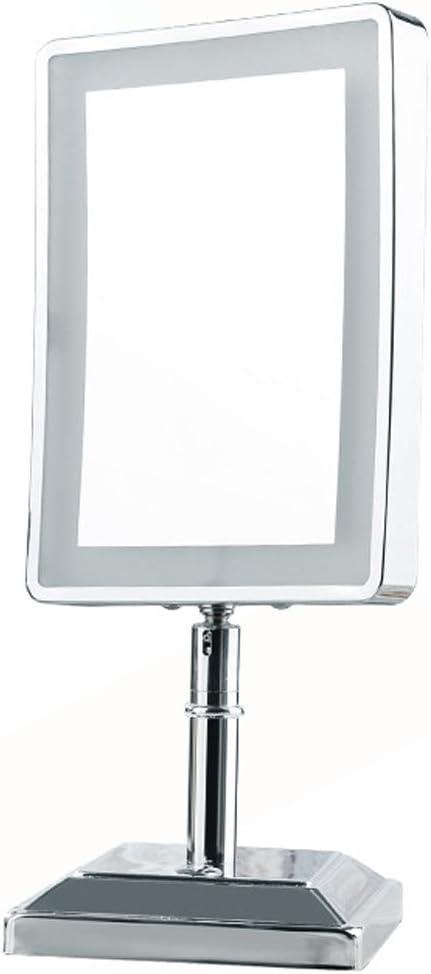 LED Espejo Cuadrado Espejo de sobremesa Doble Cara Espejo de Maquillaje con Zoom HD Espejo Giratorio de Belleza 360 °: Amazon.es: Hogar