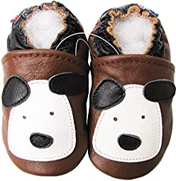 Carozoo baby boy soft sole leather infant toddler kids shoes Little Puppy Brown 5-6y