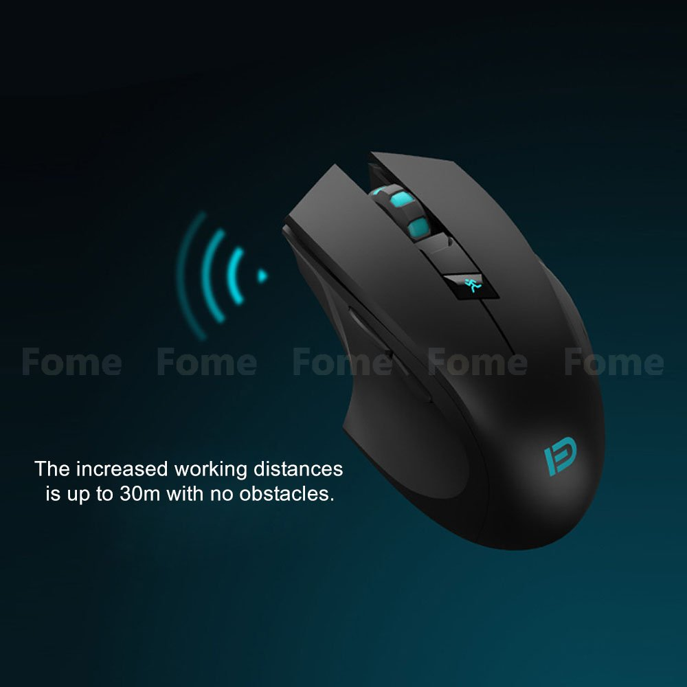 Wireless Gaming Mouse,FOME I720 Ergonomic Right-handed Design Noiseless Buttons Precise positing Optical Wireless Gaming Mouse DPI 1000/1600/2400 with Windows MAC Black? by FOME (Image #1)
