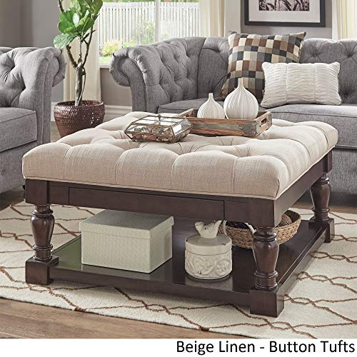 Inspire Q Lennon Baluster Espresso Storage Ottoman Coffee Table by Classic Beige Linen/Button Tufts (Baluster Table)