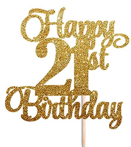 Happy 21st cumpleaños agujeros dorado con purpurina ...