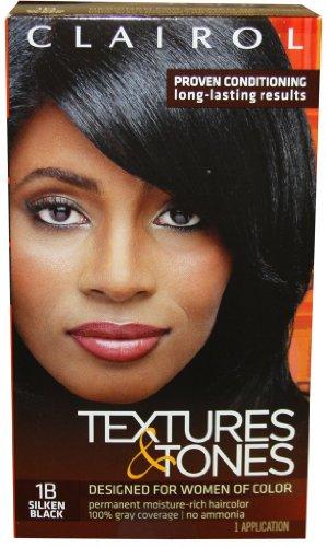 Clairol textures & tones 1b silken black