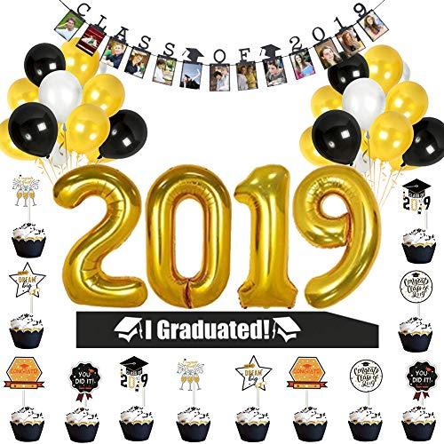 Graduation Party Supplies 2019 Graduation Party Decorations,Black Gold