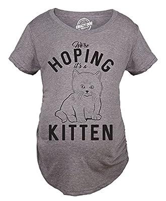 Maternity Hoping It's A Kitten Tshirt Funny Pet Cat Lover Pregnancy Tee