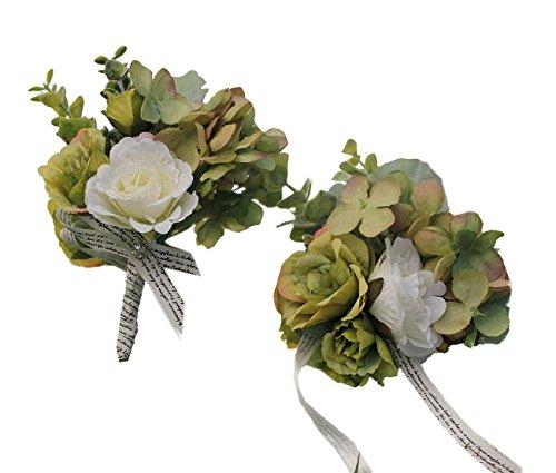 USIX 2pc Pack-Handmade Artificial Peony Hydrangea Flower Wrist Corsage & Men