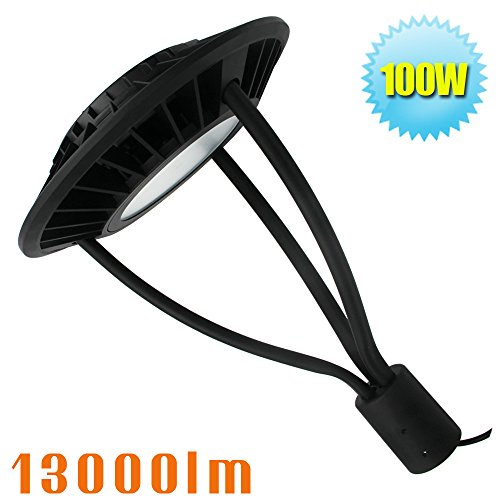 100W LED Circle Area Light,Post Top Lamps 120/208/240/277 Volt. Acorn Fixture 5000K Daylight Pathway Pole Lighting in (Commercial Lamp Post)