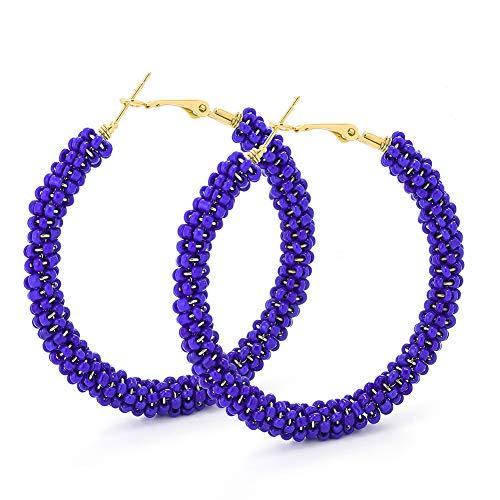 Beaded Hoop Earrings for Women - Handmade Big Circle Beaded Earrings - Idea for Business, Wedding, Party or Daily Wear (Blue Credit)