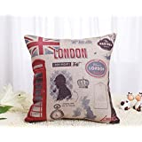 Decorbox Decorative 18 x 18 Inch Linen Cloth Pillow Cover Cushion Case, Welcome to London