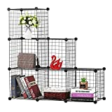 BASTUO 6 Cubes Wire Storage Cabinet Bookcase Shelf Modular Cube Organizer Rack,Closet Toys,Books,Clothes,Black