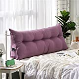 VERCART Velvet Sofa Bed Large Soft Upholstered Headboard Filled Wedge Cushion Bed Backrest Positioning Support Reading Pillow Office Lumbar Pad with Removable Cover Purple Twin