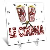 3dRose RinaPiro Movie Sayings - Le Cinema. Popcorn. - 6x6 Desk Clock (dc_273568_1)