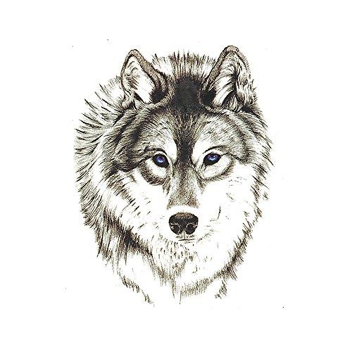 (Set of 5 Waterproof Temporary Tattoo Stickers 3D Wild Cool Wolf Animals Design Body Art)