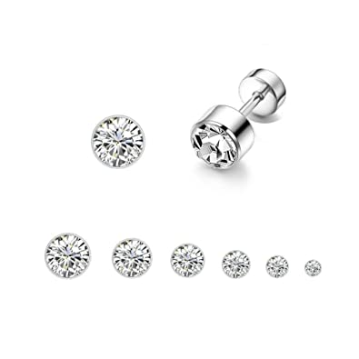 ec779b1df Amazon.com: Kokoma 6Pairs 20G CZ Cartilage Stud Earrings Stainless Steel  Helix Tragus Screw Backs Earring Body Piercing Barbell: Jewelry