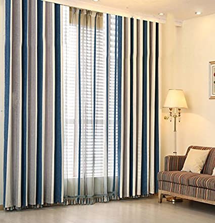 Amazoncom Enjoy 11 Chenille Stripe Curtains Grommets Toptwo
