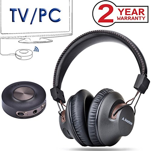Avantree Wireless Headphones for TV Watching with Bluetooth Transmitter, Plug & Play, No Delay, 100FT LONG RANGE, 40 Hours Battery, Support RCA, 3.5mm AUX, USB Audio (NO OPTICAL) PC Game - HT3189 by Avantree