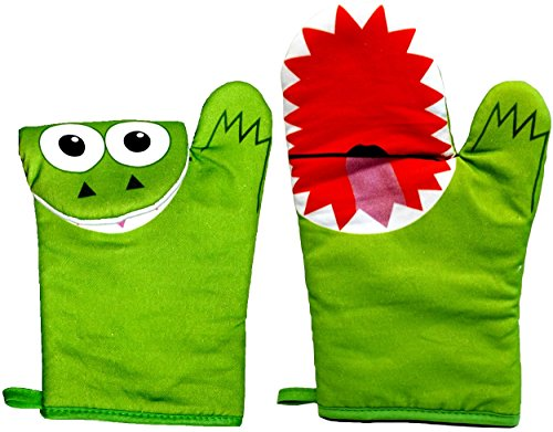 Mitten Monsters Cooking Mittens - 1 Pair - Green Oven Mitts by Mitten Monsters