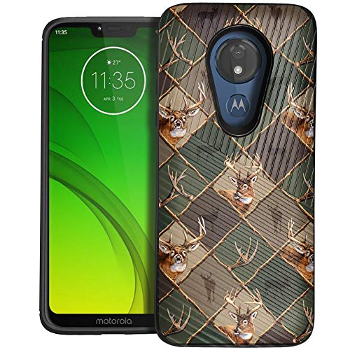 (CasesOnDeck Case Compatible with [Motorola Moto G7 Power   Motorola Moto G7 Supra] Moto G Power 7th Gen Case, Dual Layer Hybrid Combat Shock Shell Embossed Strip Case (Deer Emblem Pattern))