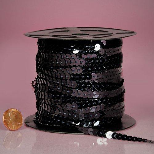 PEPPERLONELY Brand 80 Yard/Roll Metallic Flat Sequin Trim, Black