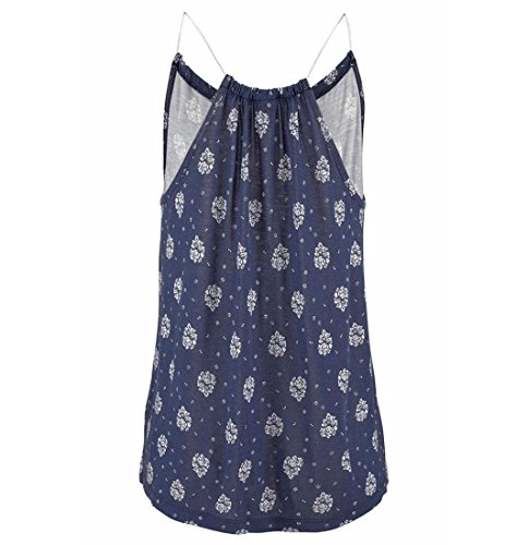 Damen Tank Tops,ZEZKT Bestickte Sommer Sleeveless Weste Top Damen Blumenmuster Strappy Cami Top (Blau)