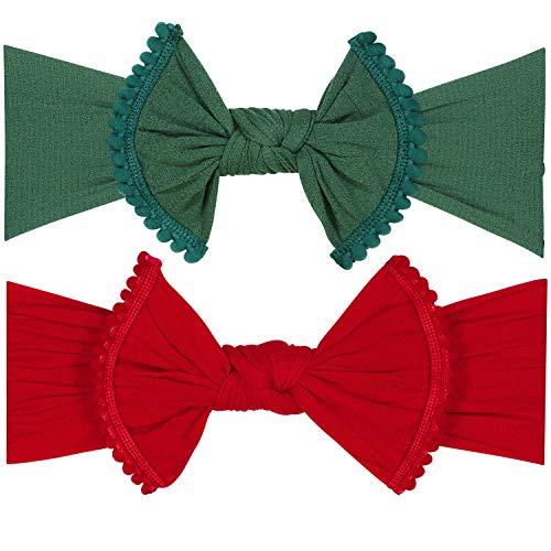 POMPOM BOW FAVORITE BABY HEADBANDS - 2 Pack - Newborn Headbands and Baby Girls Headbands (Bling Bow)