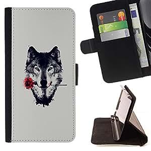 Momo Phone Case / Flip Funda de Cuero Case Cover - Lobo con Rose;;;;;;;; - Huawei Ascend P8 (Not for P8 Lite)