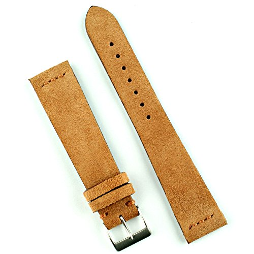 B & R Bands 22mm Camel Vintage Suede Watch Band Strap - Medium (Mens Camel Italian Suede)