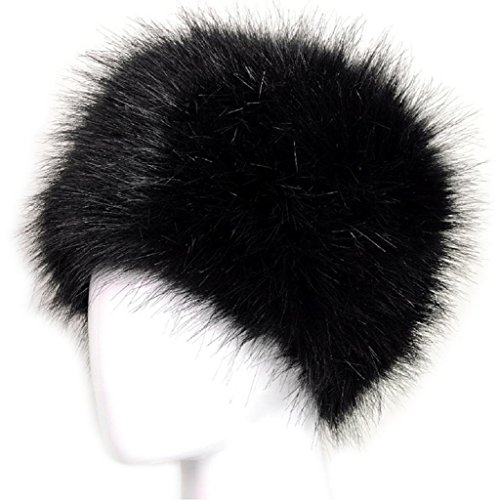 Hukai Women Black Faux Fox Fur Hat Russian Winter Warmer Ear Cap Ushanka Cossack Ski (Children's Russian Cossack Costume)